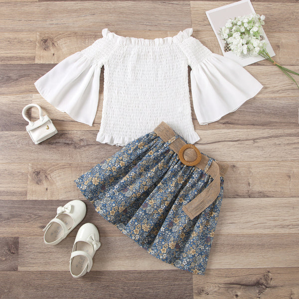 Printed Skirt and White Top Set