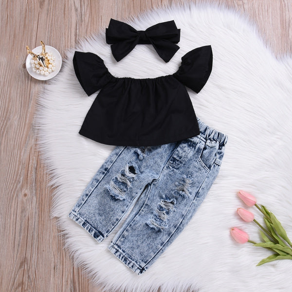 Off Shoulder Tshirt And Rugged Denim Set With Headband