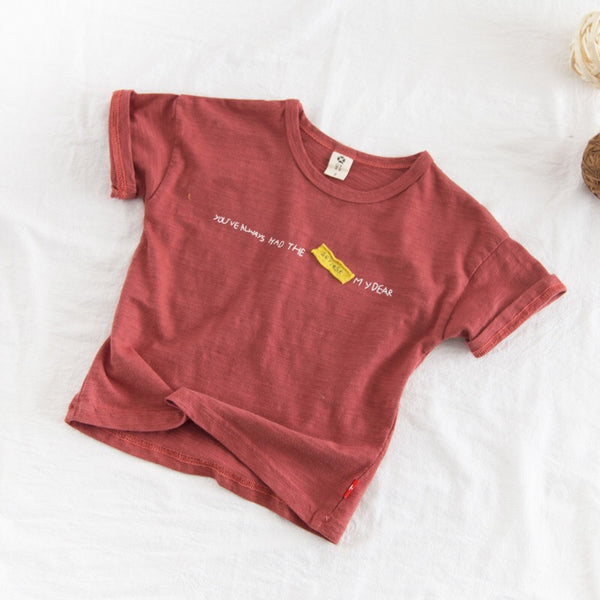 Quoted Round Neck Summer Baby Tshirt