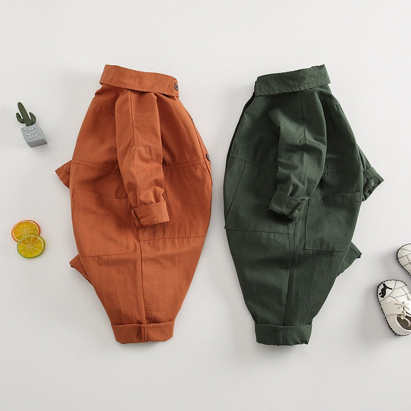 Solid Color Double Pocket Jumpsuit