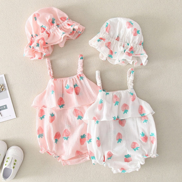 Strawberry Printed Romper With Cap