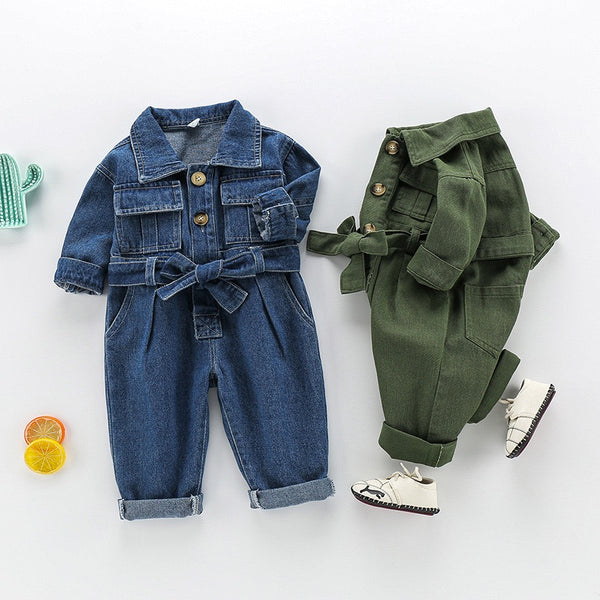 Denim Double Pocket Knotted Jumpsuit
