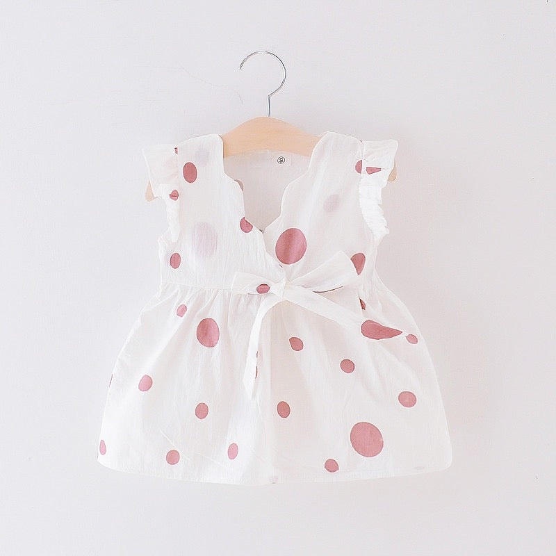 Polka Dotted Bow Knot Summer Dress
