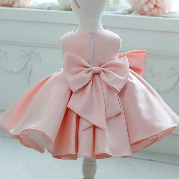 Beaded Pink Big Bow Party Dress