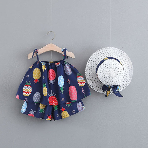 Printed Strap Top And Shorts Set With Hat