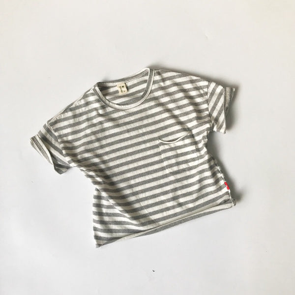 Striped Pocket Round Neck Baby Tshirts