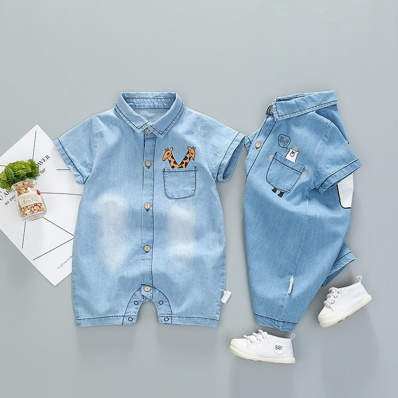 Half Sleeves Denim Romper