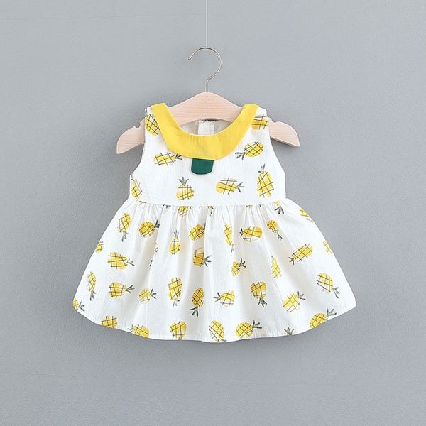 Pineapple Printed Sleeveless Summer Dress