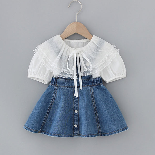 White Buttoned Top And Denim Overall Set