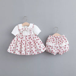 Flower Printed Pleated Dress And Bloomer Set