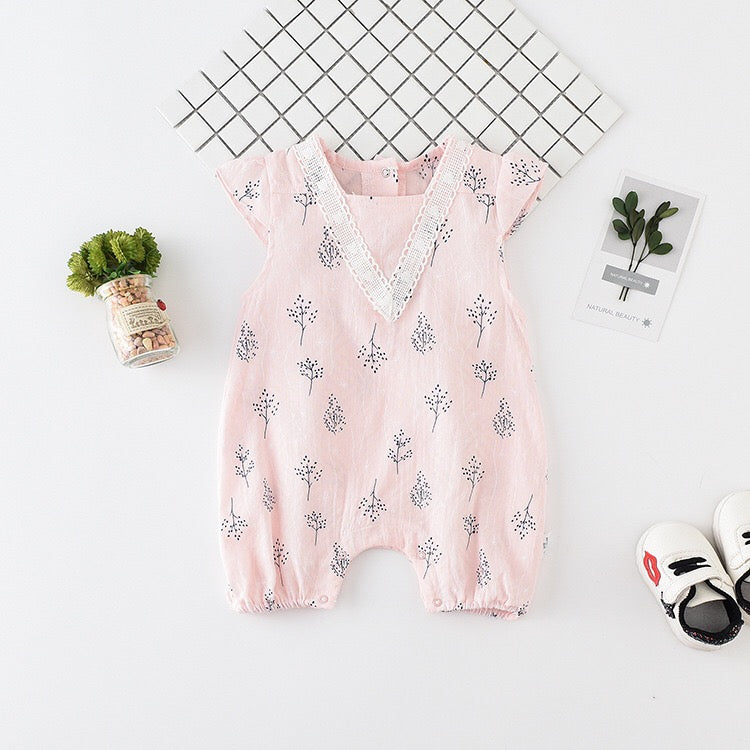 Leaf Printed Summer Jumpsuit