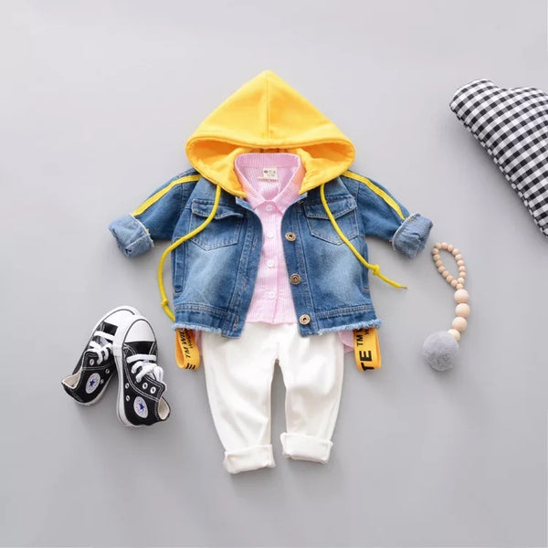 Denim Jacket With Yellow Hood
