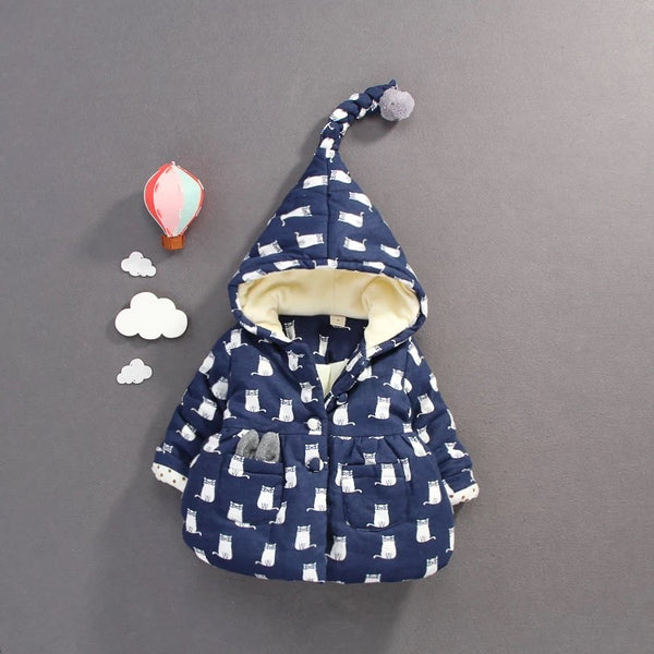 Cat Printed Hooded Jacket