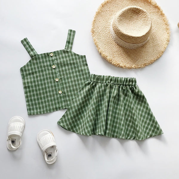 Checkered Buttoned Top and skirt set