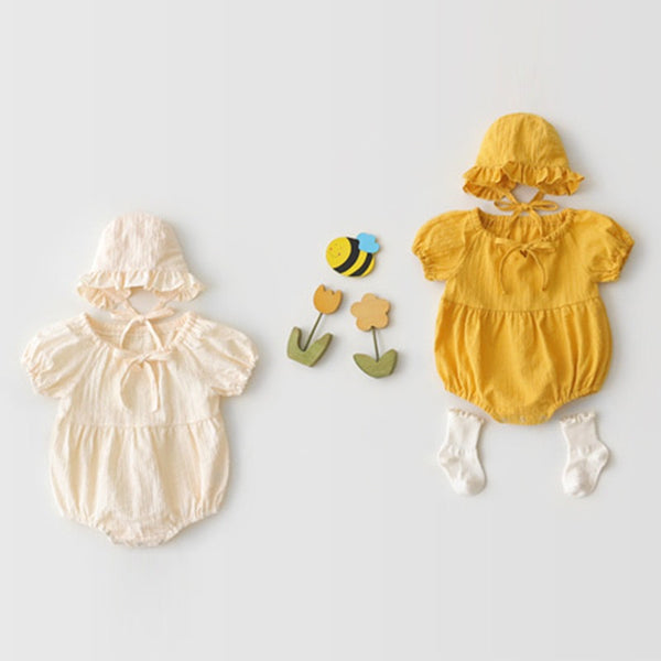 Gathered Collar Romper With Hat
