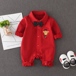 Giraffe Made Bow Gentleman Romper