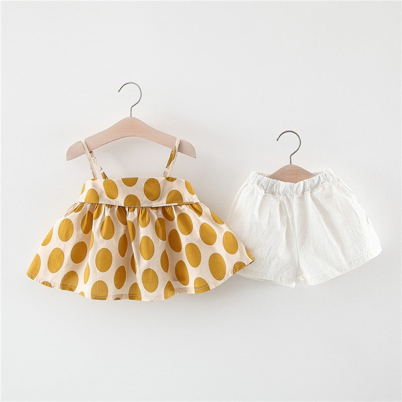 Large Polka Dotted Strap Top And Shorts Set