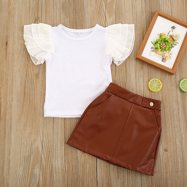 White Tshirt And Brown Leather Skirt Set