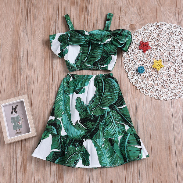 Leaf Printed Off Shoulder Top And Long Skirt Set