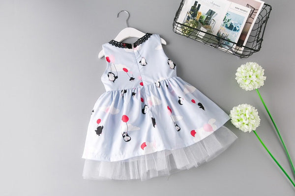Penguin Printed Sleeveless Summer Dress