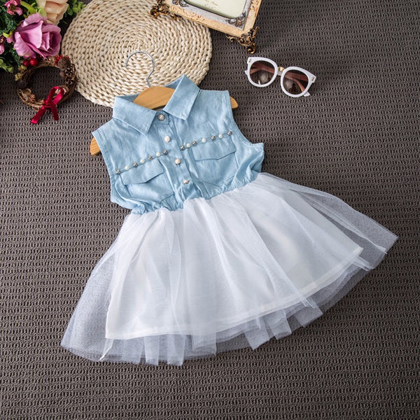 Denim Pearl Tutu Dress