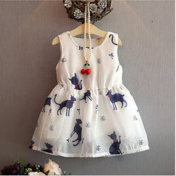 Cat Printed Sleeveless Dress