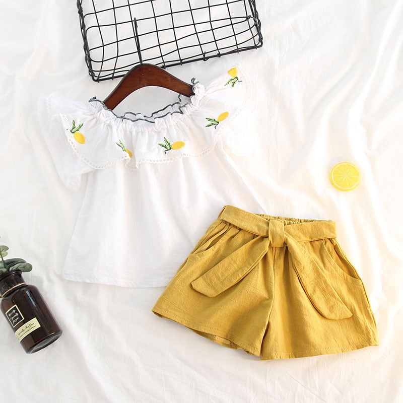 Lemon Printed Collar Top And Shorts Set