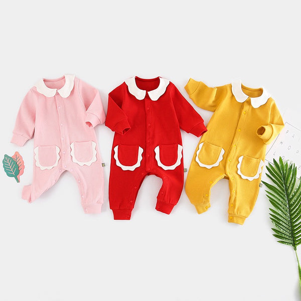 Double Pocket Doll Collar Jumpsuit