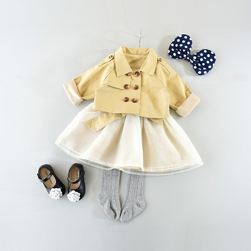 Bow Knot Sleeveless Dress With Double Buttoned Jacket