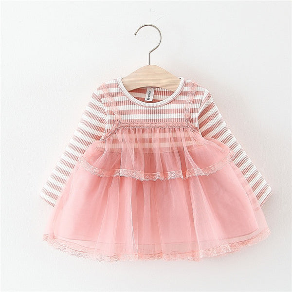 Striped Net Long Sleeves Baby Girl Dress