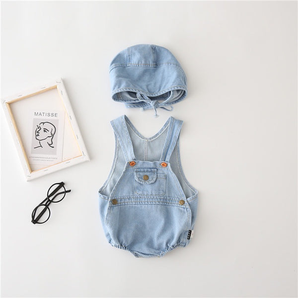 One Pocket Denim Onesie With Cap