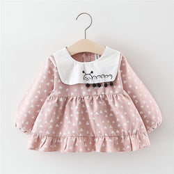 Snail Printed Collar Baby Girl Dress
