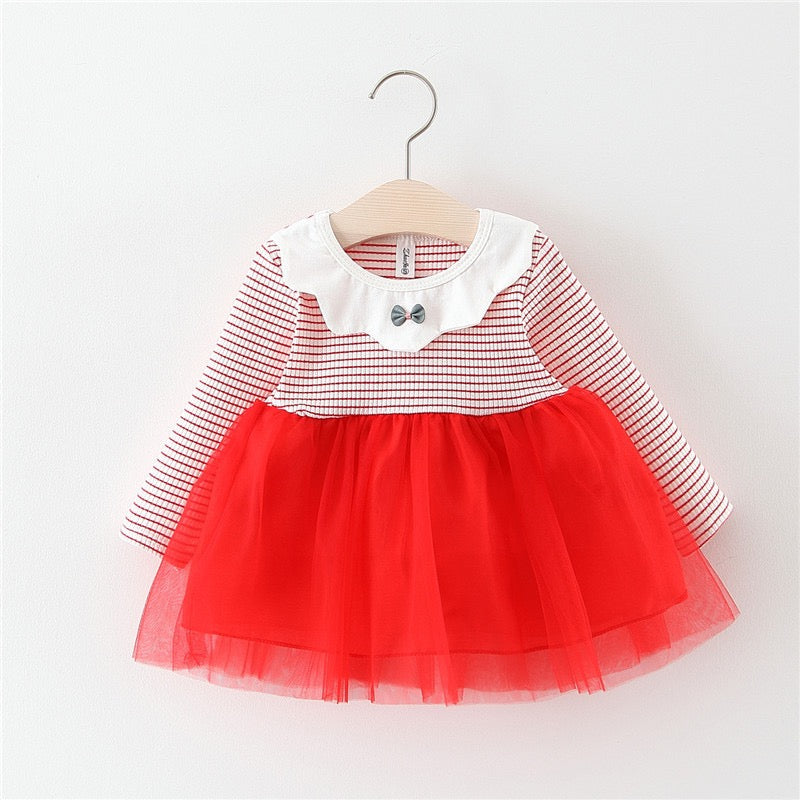 Half Striped Tutu Long Sleeves Baby Girl Dress