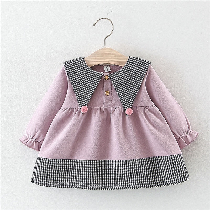 Plaided Collar Long Sleeves Buttoned Dress