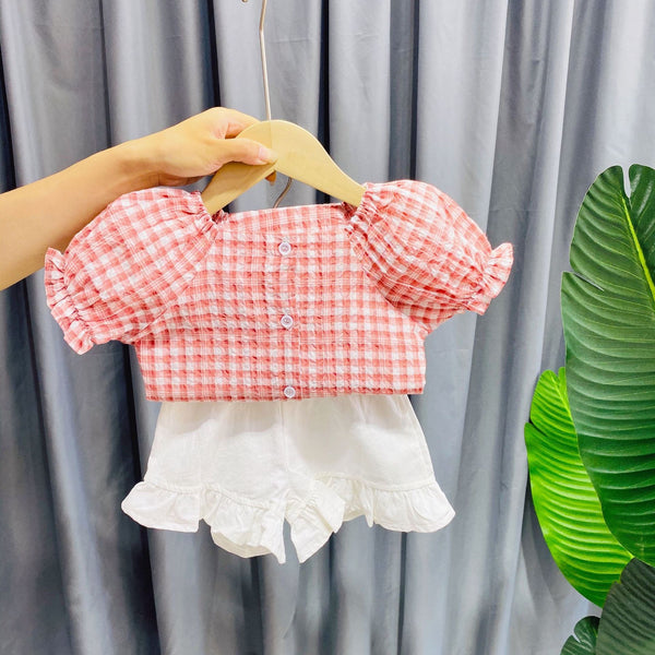 Buttoned Checkered Top And Ruffles Shorts Set
