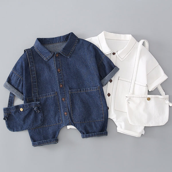 Double Pocket Denim Bodysuit With Sling Bag