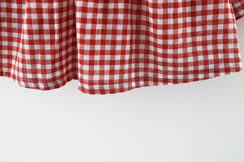 Checks Dress With Pleated Collar