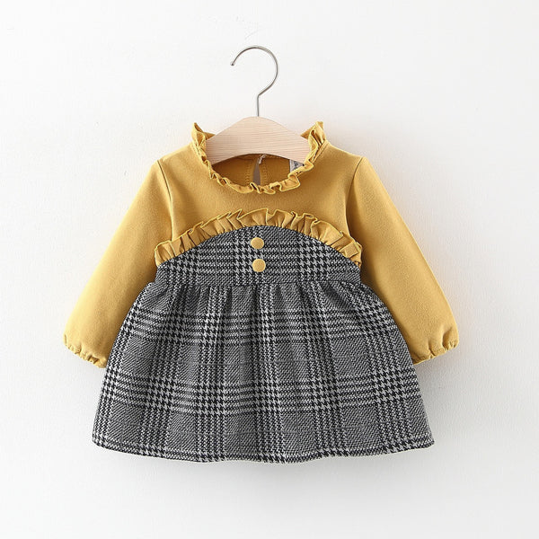 Half Plaided Stylish Collar Baby Girl Dress