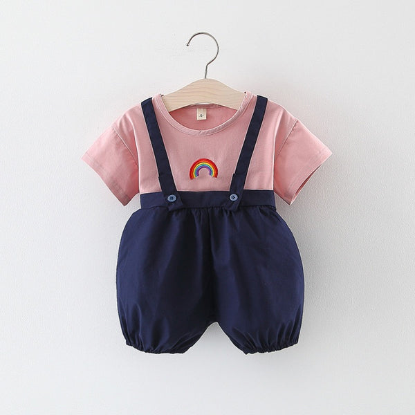 Rainbow Tshirt And Ballon Dungaree Set