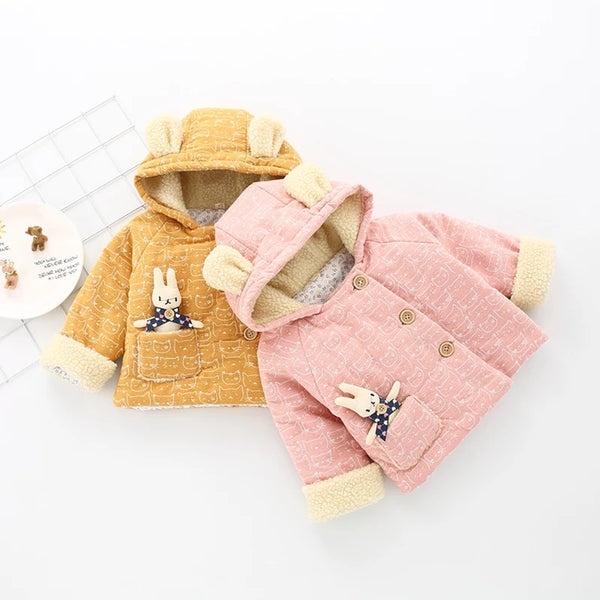 Ear Hooded Printed Cartoon Rabbit Thicken Jacket
