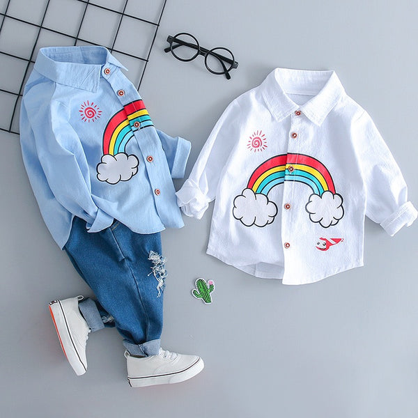 Rainbow Printed Shirt And Rugged Denim Set