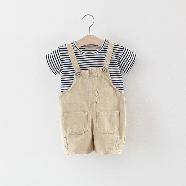 Striped Tshirt And Rugged Dungaree Set