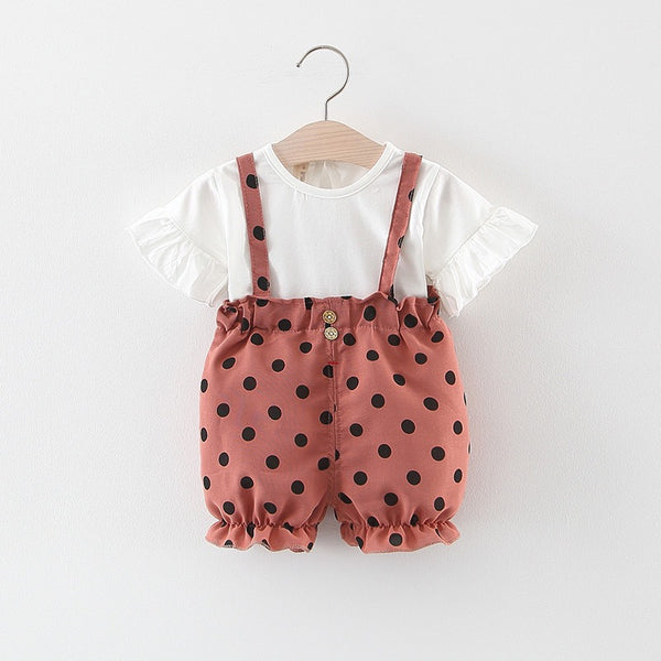 Flare Sleeves Tshirt And Polka Dot Dungaree Set