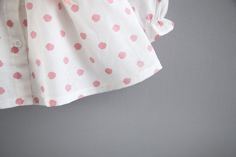 Polka Dots Long Sleeve Buttoned Dress