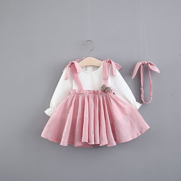 Long Sleeves Gathered Dress With Headband