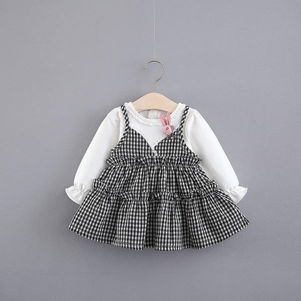Checks Frills Long Sleeve Baby Dress