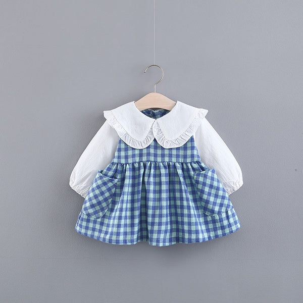 Plaided Long Sleeves Baby Dress