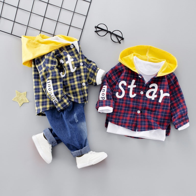 Hooded Checks Shirt And Denim Set