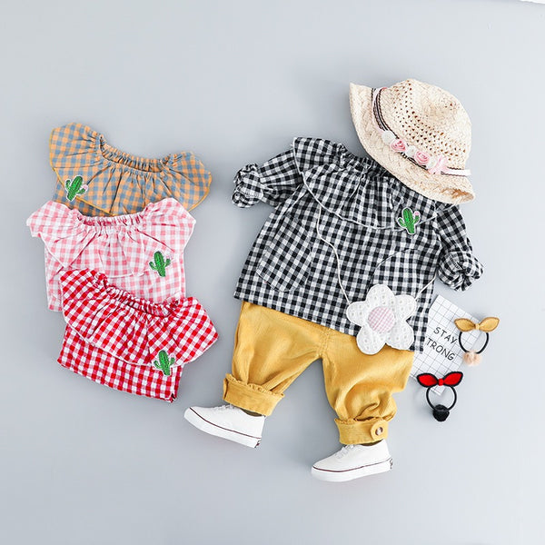 Plaided Top And Pant Baby Girl Set