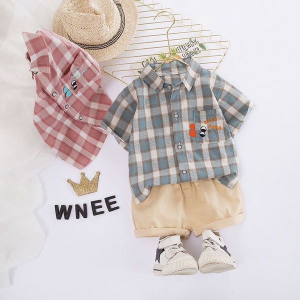 Checkered Shirt And Shorts Set